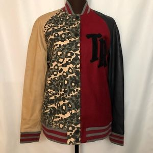 TRUE RELIGION Logo Letterman Leather Jacket